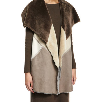 Clemence Colorblock Fur Vest, Size: MEDIUM8-10, CHESTNUT MULTI - Lafayette 148 New York