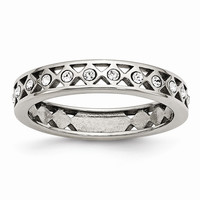 Stainless Steel Polished Crystal Wedding Band Ring: RingSize: 5