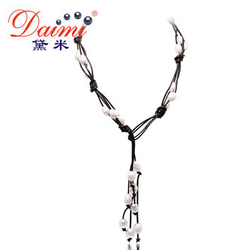 DAIMI 9-10MM Natural Baroque Pearl & Leather Necklace White Black Jewelry Long Pearl Necklace