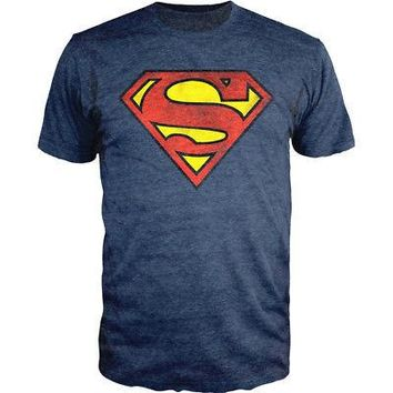 Superman Distressed Logo Shield DC Comics Licensed Slim T-Shirt - Heather Blue
