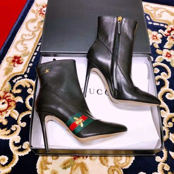Gucci Leather Web Ankle Boot