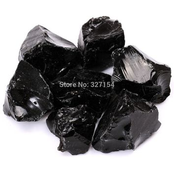 "1"" 1/2lb Bulk Black Obsidian Quartz Ruwe/Rough Rock Stones Crystals Metaphysical Reiki Healing Free Pouch RS043"