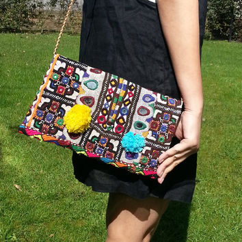 Vintage Boho purse, evening sling bag, embroidered bag, sling bag Indian ethnic bag, colorful sling bags