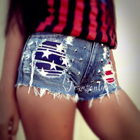 High waist jean shorts studded shorts american flag shorts by Jeansonly