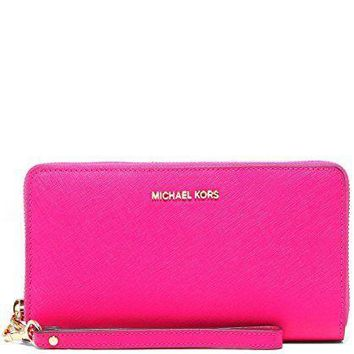 Michael Kors Jet Set Continental Multifunction Phone Wallet Wristlet Ultra Pink