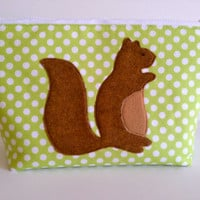 Extra Large Applique Cosmetic Bag Toiletry Bag Travel Bag Makeup Bag in Squirrel