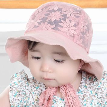 cute baby hat summer lace flower bucket hats outdoor mesh breathable children's summer hats for girls props baby shoot girl hat
