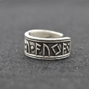 Men's Antique Silver Viking Ring Nordic Rune Rings - Norse Mythology