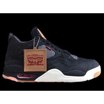 BC QIYIF Nike Air Jordan X Levi's Retro 4 Black Denim AO2571-001 2018 Adult and GS