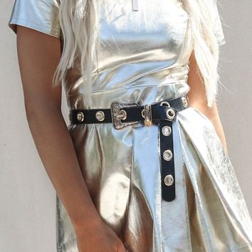 My Luck Black and Gold Grommet Western Belt
