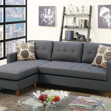 2-Pc Polyfiber Fabric Upholstered Reversible Sectional Sofa, Gray