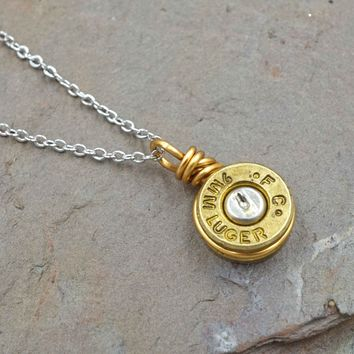 Brass 9mm Bullet Necklace
