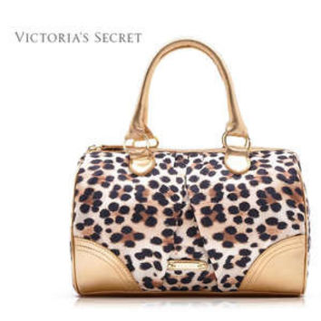 Victoria's Secret Gold leopard print satin tote purse handbag
