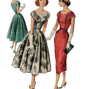 1950s McCalls 4172 Evening, Cocktail, Party Dress- Full or Pencil Skirt, Scoop Neck, Shirred Bodice- Size 16/Bust 36 - UNCUT Vintage Pattern