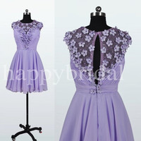 Short Lavender Lace Prom Dresses Beautiful Handmade Flower Party Dresses Homecoming Dresses 2014 New Fashion