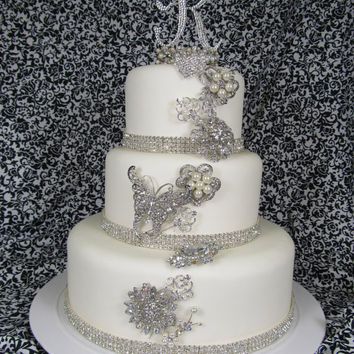 Fake Wedding Cake with Swarovski Crystal Monogram and Crystal Brooches - Brooch Cake