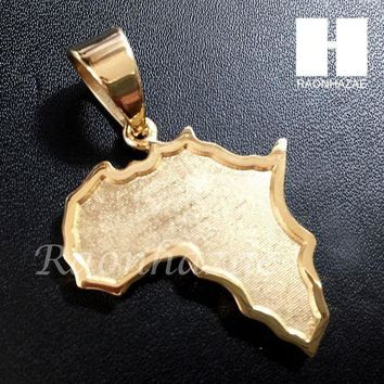 Mens Iced Out 316l Stainless Steel Gold Silver Africa Small Map Pendant Ss010
