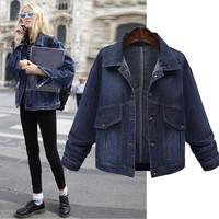 JACKET Women Denim Jacket Vintage Oversize Loose Female Jeans Coat