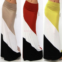 Women Long Skirts New Summer Clothing Maxi Skirt Elastic High Waist Casual Spling Color Skirt SV003697 = 1652213572