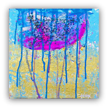 Original Mixed Media Art - Abstract Art on canvas 12x12in