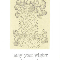 May Your Winter Be Magic Holiday Card | Vintage Woodcut Engraving Pagan Winter Happy Holidays Seasons Greetings Witch Solstice
