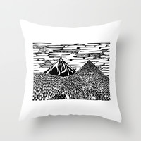 Mountain Block Print Throw Pillow by Natalievmason | Society6