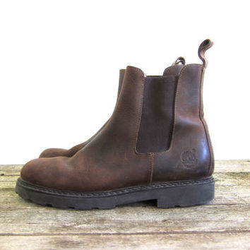 20% OFF SALE vintage brown leather chelsea boots. leather ankle boots. beatle boots.