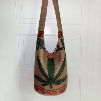 Cannabis Leaf Hobo Bag, Vintage Burlap Bag, Sling Bag, Marijuana, Hippie Purse, Crossbody Bag