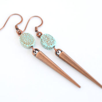 Copper spike drop earrings, turquoise earrings, copper drop earrings, boho chic earrings, aqua spike earrings, copper earrings, boho earring