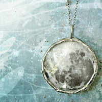 Dark Side of the Moon Necklace. Sterling Silver Chain. Double Sided. Medium 1.5 inches Circle, Full Moon Jewelry