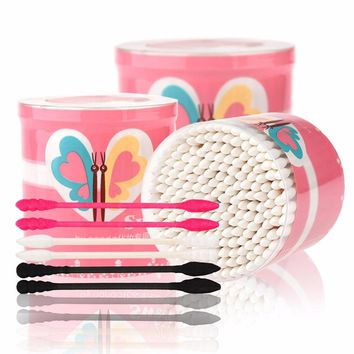 200pcs/box by nanda Cotton Swab Disposable Double Head Makeup Cotton Swabs Cosmetic Tool Cotton Buds Ear Clean Tools