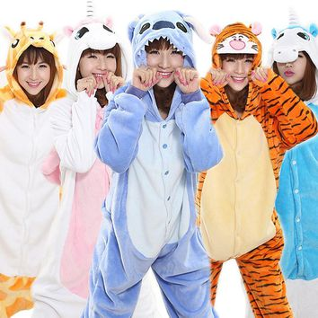 2018 Unisex Adult Women Anime Costume Halloween Cosplay Costume Unicorn Pajamas Cartoon Sleepwear Panda Tigger Stitch Bat Hooded