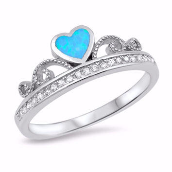 Sterling Silver CZ Lab Light Blue Opal Simulated Diamond Crown Tiara Ring 7MM