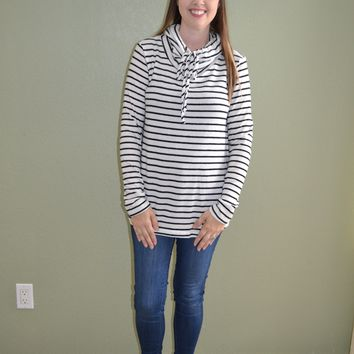 Cuddle Together Striped Cowl Neck Top: Black and White