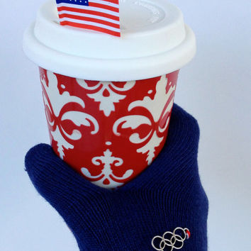 Winter Olympics Knit Gloves with Ring Charm