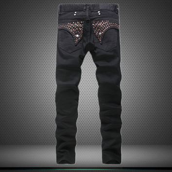 Hot Sale Stylish Black Strong Character Men's Fashion Pants Jeans [6541743811]