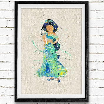 Aladdin Jasmine Watercolor Art Print, Disney Princess Poster, Nursery Wall Art, Baby Girl's Room, Gift, Not Framed, Buy 2 Get 1 Free!