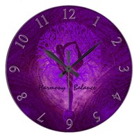Purple Yoga Tree Clock