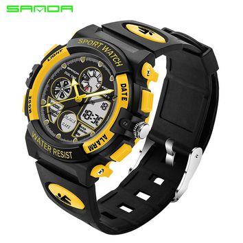 SANDA Children Sports Watches Fashion LED Quartz Digital Watch Boys Girls Kids Waterproof Wristwatches For Children Gifts 116