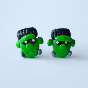 Frankenstein earrings,Halloween jewelry,funny Halloween post,Halloween monster earrings,cute stud,green Holiday earstud,unusual piercing,pin