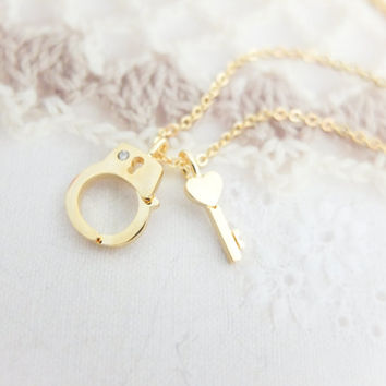 Gold Handcuff Necklace Gold necklace Tiny charm necklace Cute necklace Bridesmaids Gift mom Birthday Gift best friend Birthday Gift sister