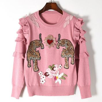 Flower heart double panther figure knitted sweater gold thread wooden ear sleeve knitted sleeve