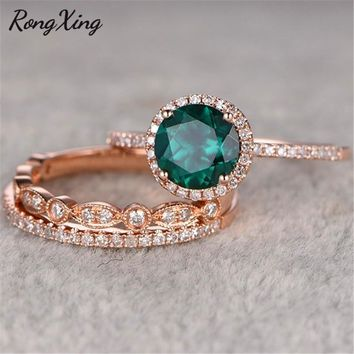 RongXing May Birthstone Round Stone Green Rings Sets Rose Gold Filled Three Layers Bridal Zircon Fashion Sets Lover Jewelry Gift