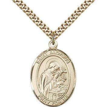 "Saint Aloysius Gonzaga Medal For Men - Gold Filled Necklace On 24"" Chain - 30... 617759239751"