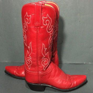 Lucchese 1883 Red Leather Western Cowgirl Boots Women's Size 6