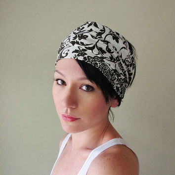 Filigree Head Scarf - White and Dark Brown Headband, Hair Wrap, Hair Accessory - Womens Filigree Hair Accessories
