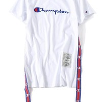 Champion Embroidery tide brand loose large size short - sleeved Europe and America long paragraph streamer dress