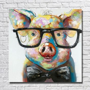 Large Canvas Art Cheap 100% Hand painted Abstract Lovely Pig Oil Painting Modern Living Room Wall Decor Picture no Framed