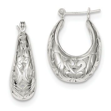 Sterling Silver Oval Filigree Hoop Earrings QE8371