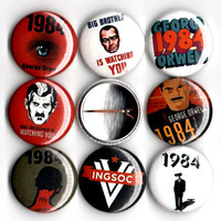 1984 book George Orwell button set of 8 pinbacks 1""